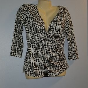 Talbots Petites M Houndstooth Wrap Top
